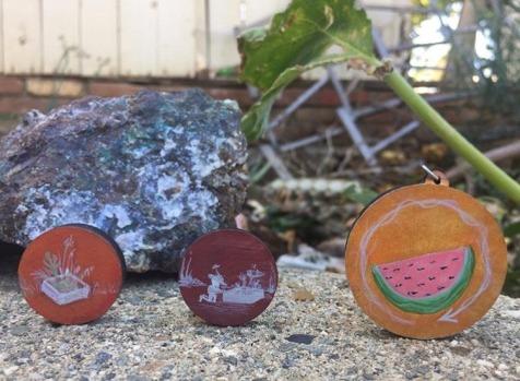 Custom Hand Painted Pins and Pendants by Taylour Rudzinski
